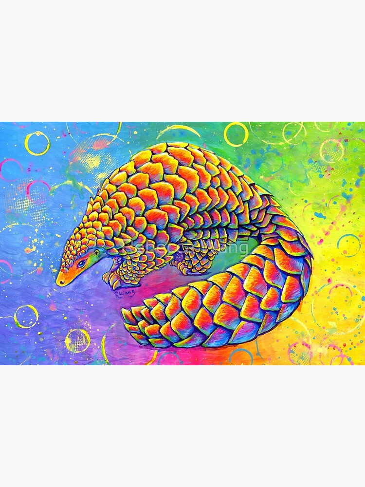 Psychedelic Rainbow Pangolin by lioncrusher