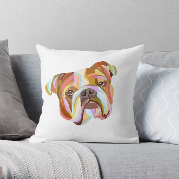 English Bulldog Colorful Abstract Art Throw Pillow