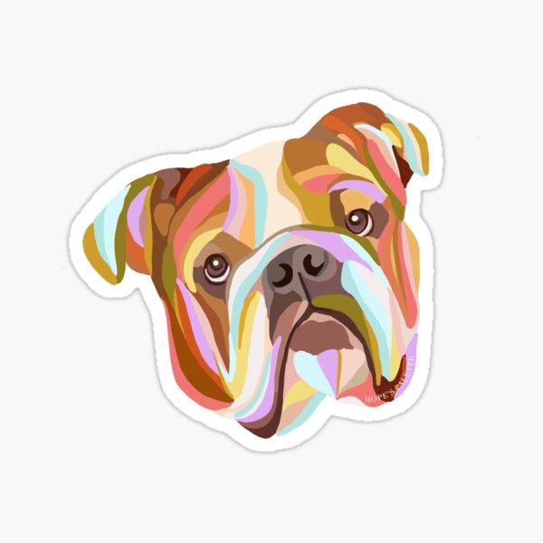 English Bulldog Colorful Abstract Art Sticker
