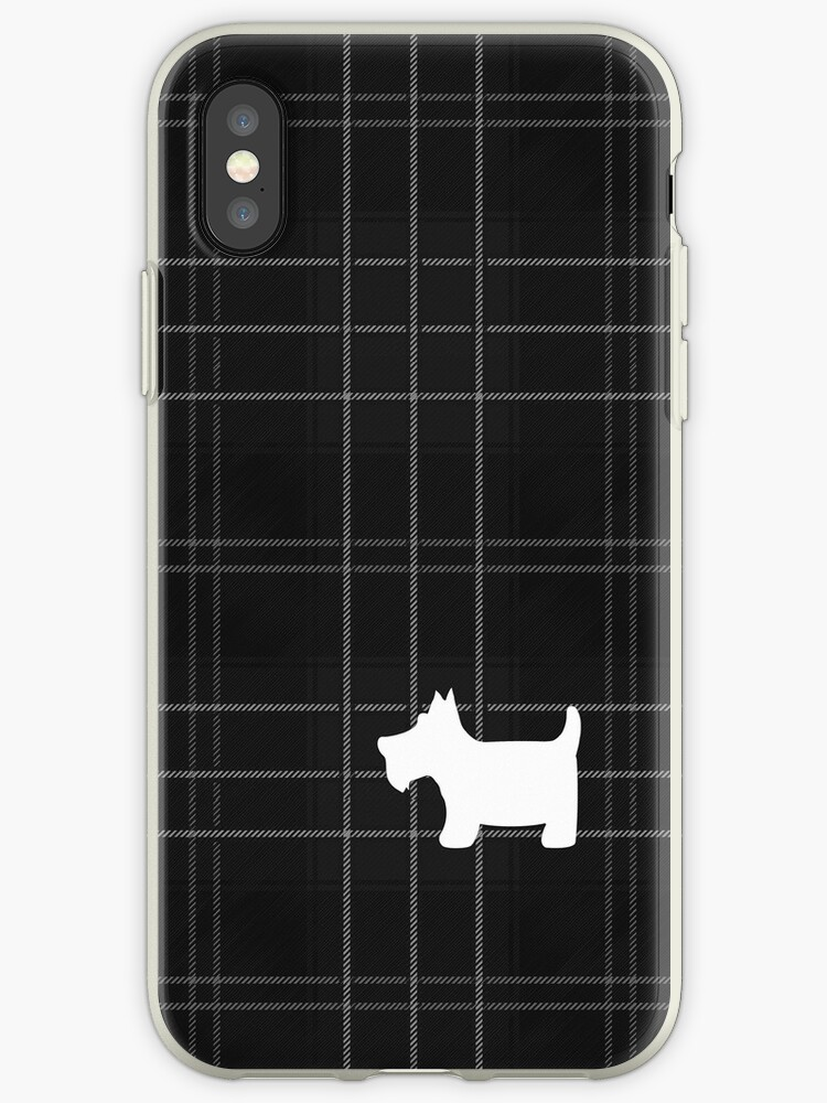 Black and White Tartan Plaid with Scottie Dog by ArtformDesigns