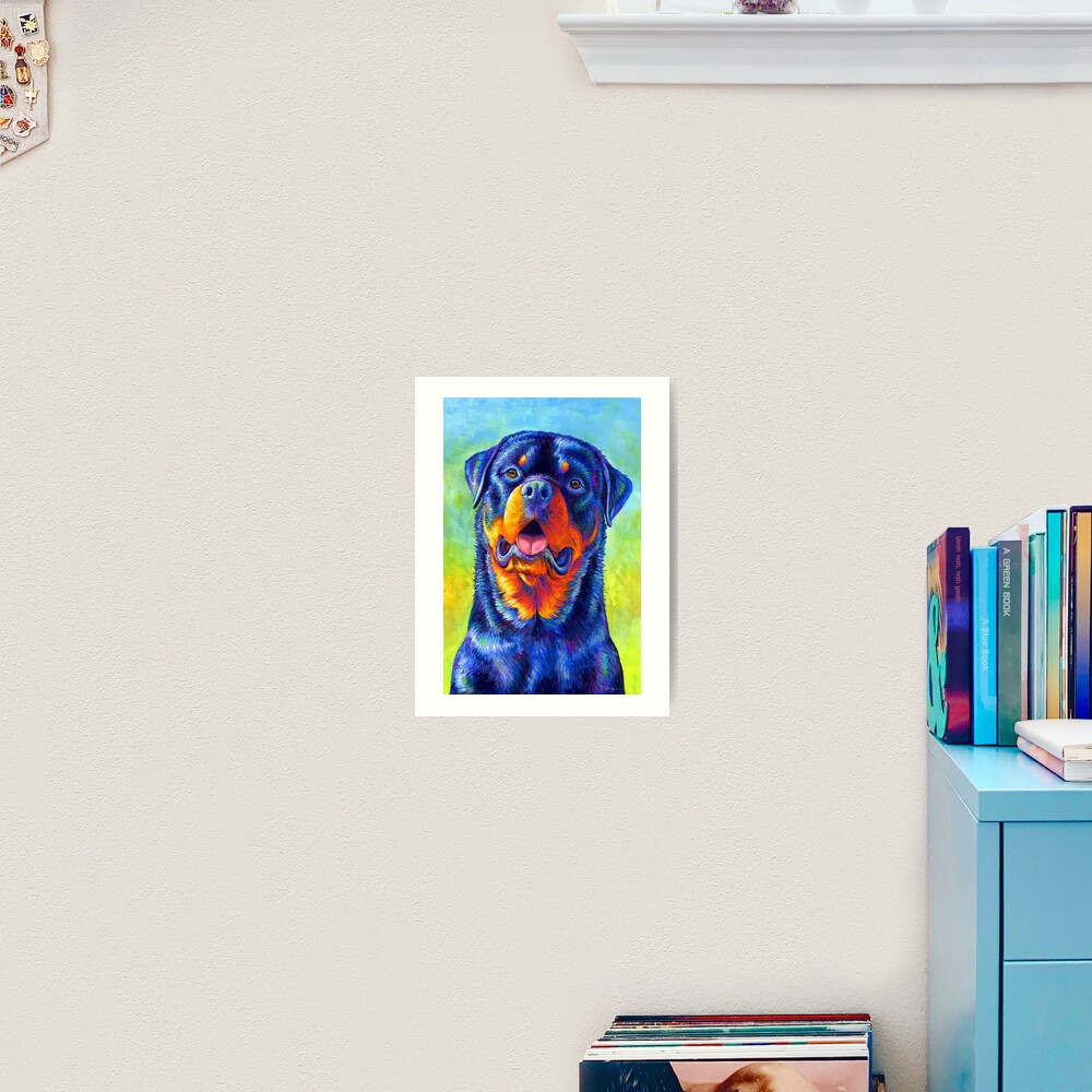 Gentle Guardian - Colorful Rainbow Rottweiler Dog Art Print