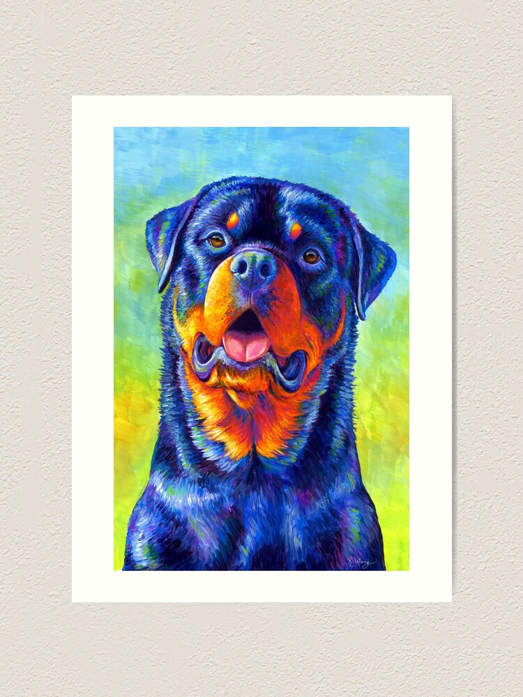 Alternate view of Gentle Guardian - Colorful Rainbow Rottweiler Dog Art Print