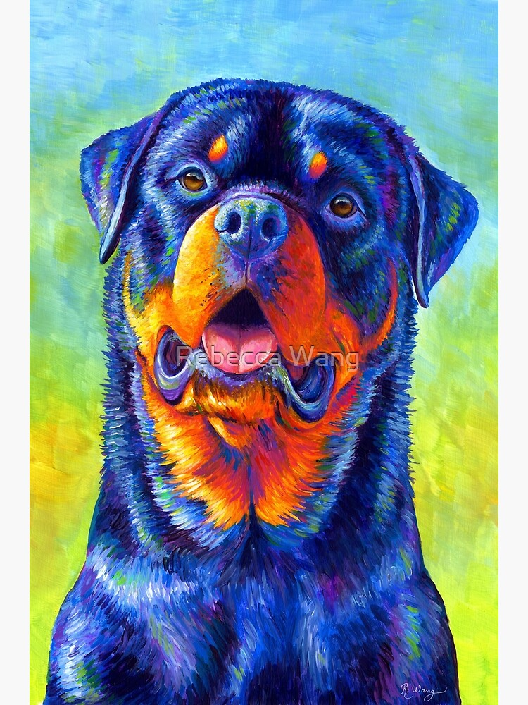 Gentle Guardian - Colorful Rainbow Rottweiler Dog by lioncrusher