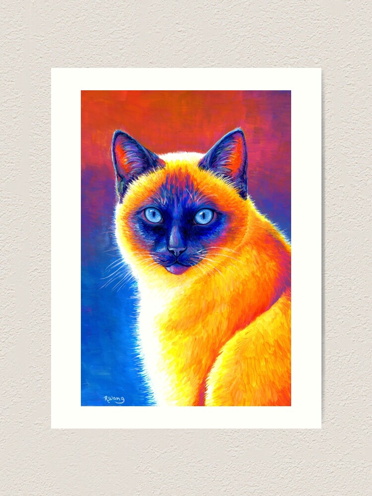 Alternate view of Jewel of the Orient - Colorful Siamese Cat Art Print