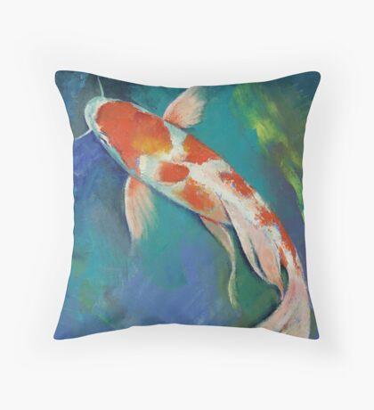 Kohaku Butterfly Koi Throw Pillow