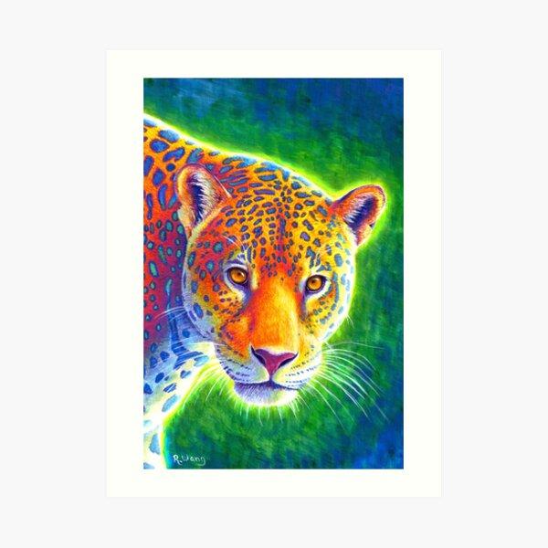 Light in the Rainforest - Psychedelic Rainbow Jaguar Art Print