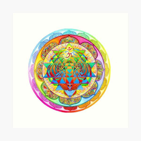 Inner Strength Psychedelic Tiger Sri Yantra Mandala Art Print