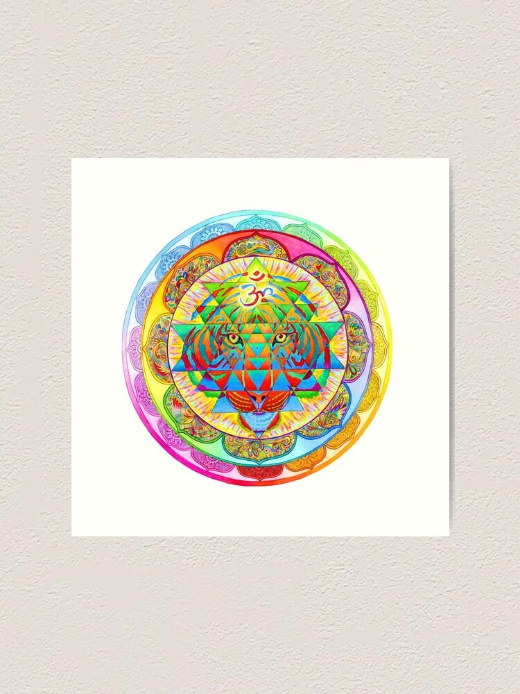 Alternate view of Inner Strength Psychedelic Tiger Sri Yantra Mandala Art Print