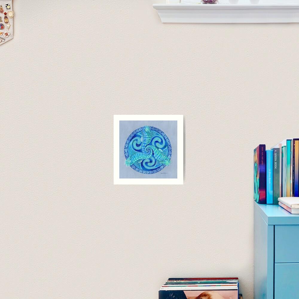 Seahorse Triskele Blue Celtic Mandala Art Print