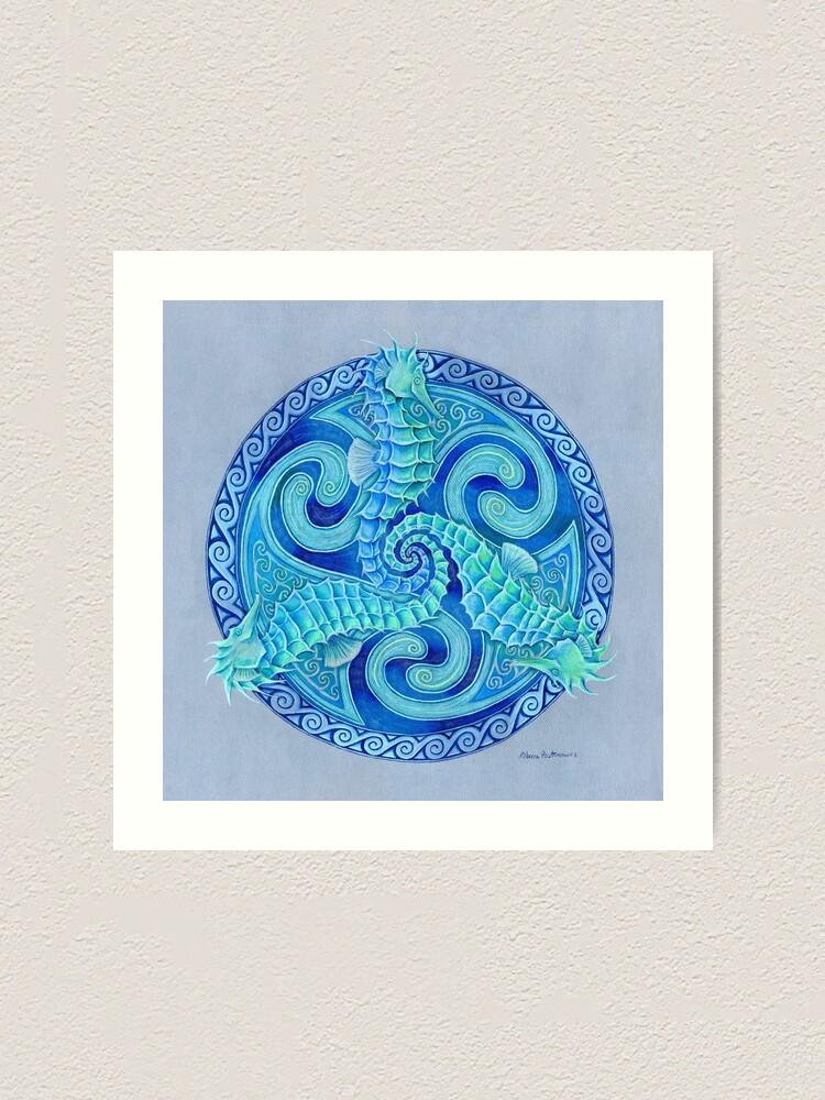Alternate view of Seahorse Triskele Blue Celtic Mandala Art Print