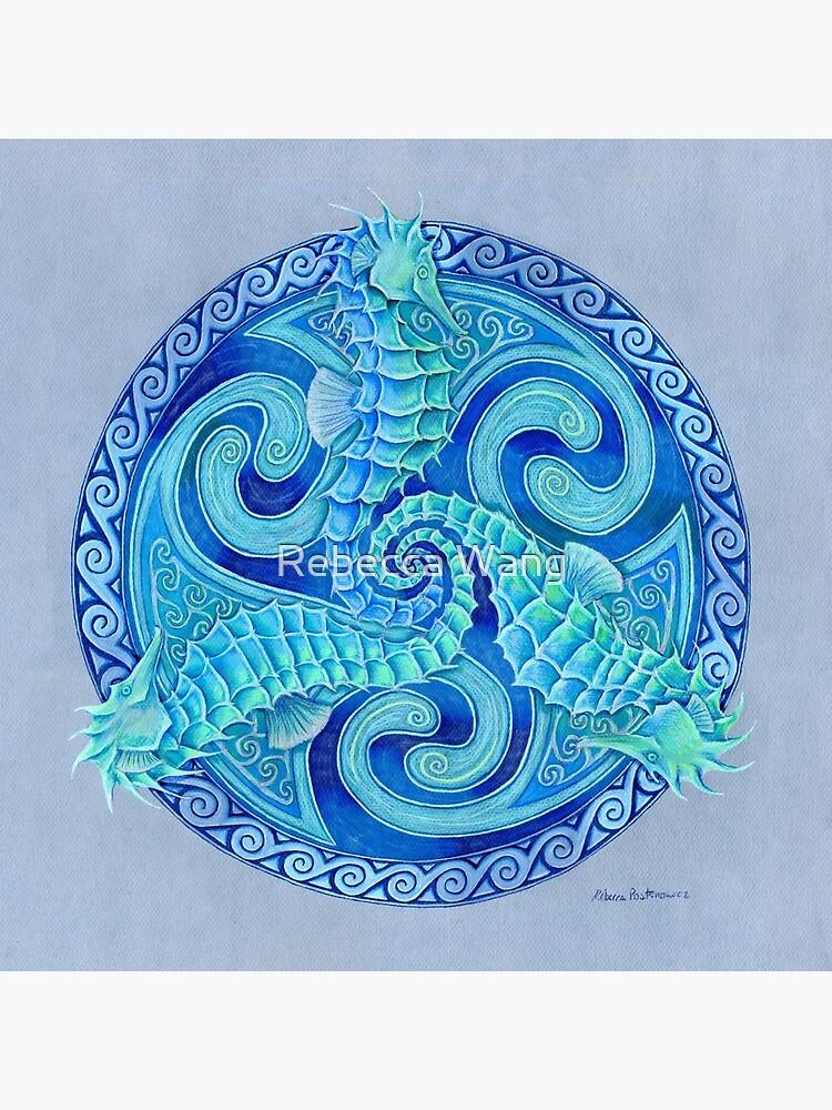 Seahorse Triskele Blue Celtic Mandala by lioncrusher