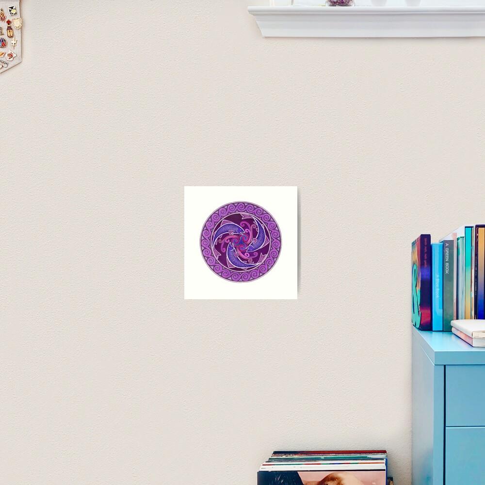Purple Fish Spiral Celtic Triskele Mandala Art Print