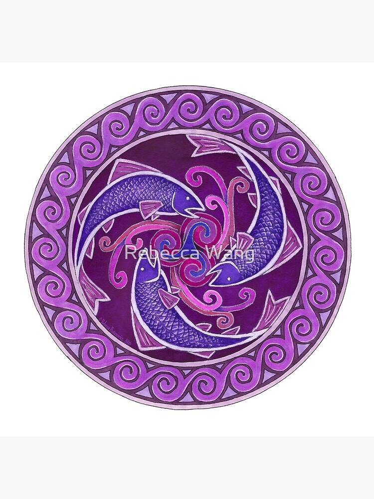 Purple Fish Spiral Celtic Triskele Mandala by lioncrusher