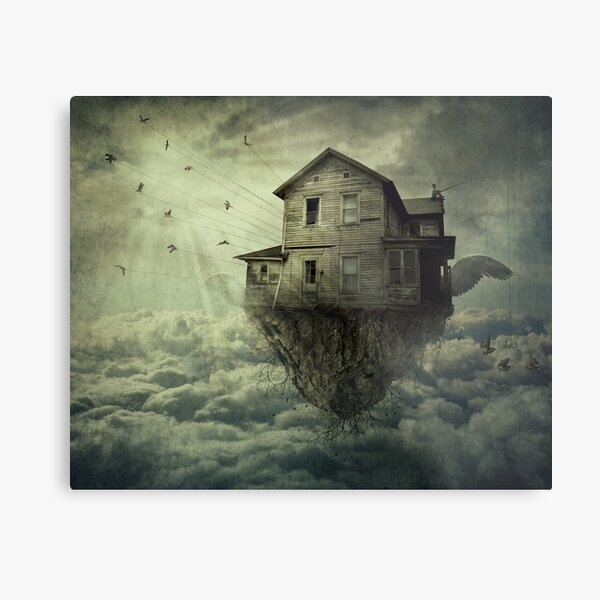 Surreal Flying House Metal Print