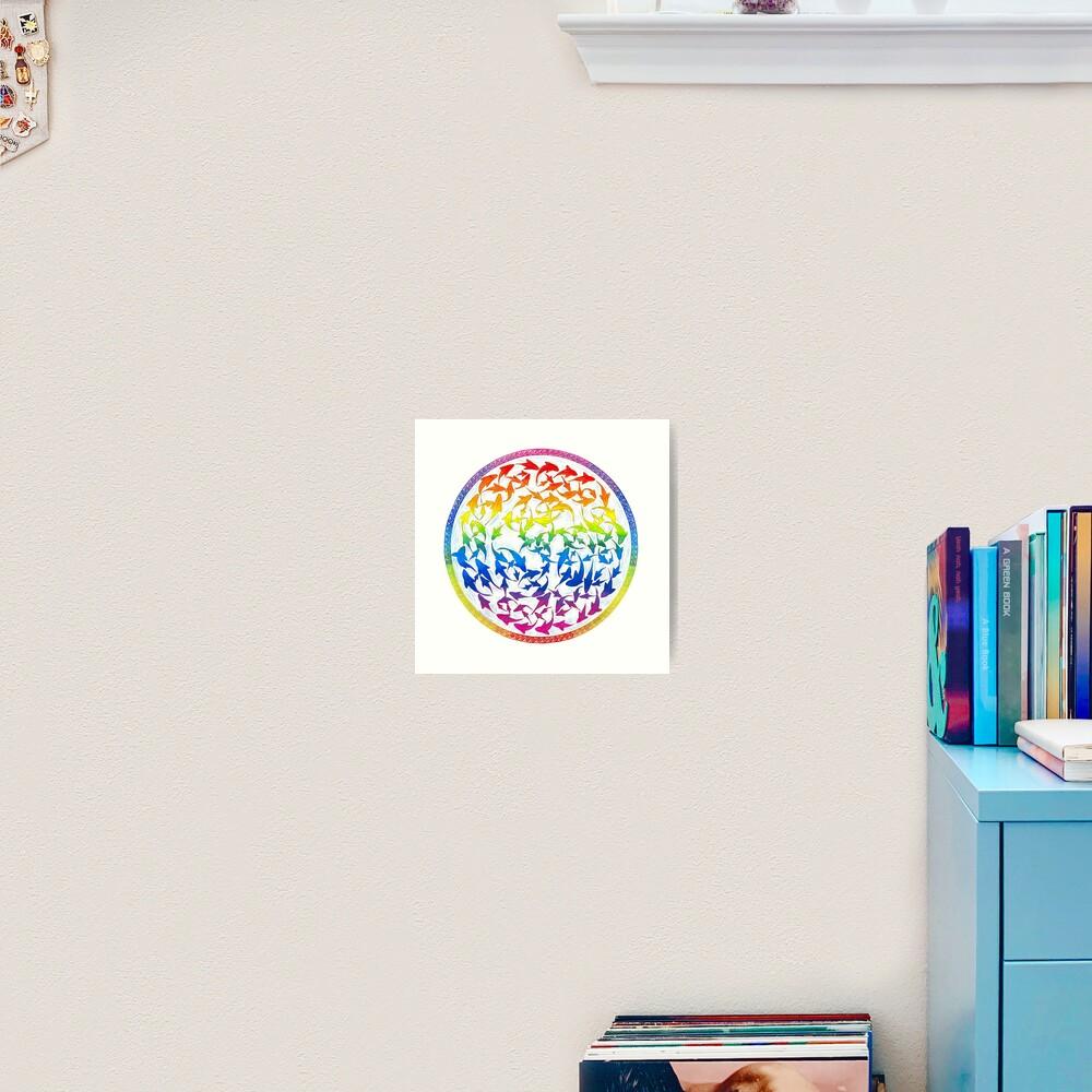 Harmony Rainbow Fish Psychedelic Mandala Art Print