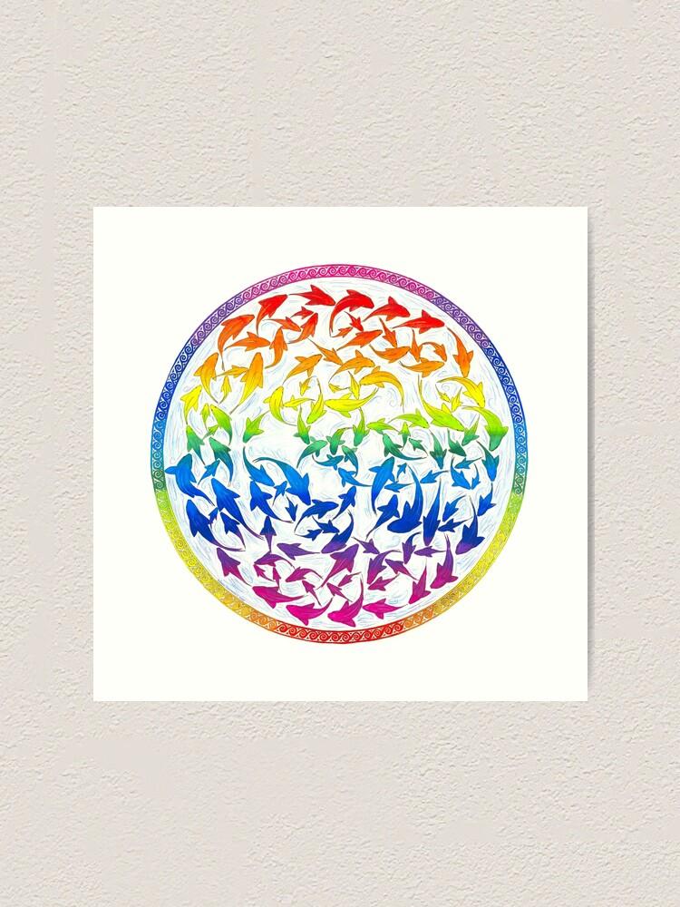 Alternate view of Harmony Rainbow Fish Psychedelic Mandala Art Print