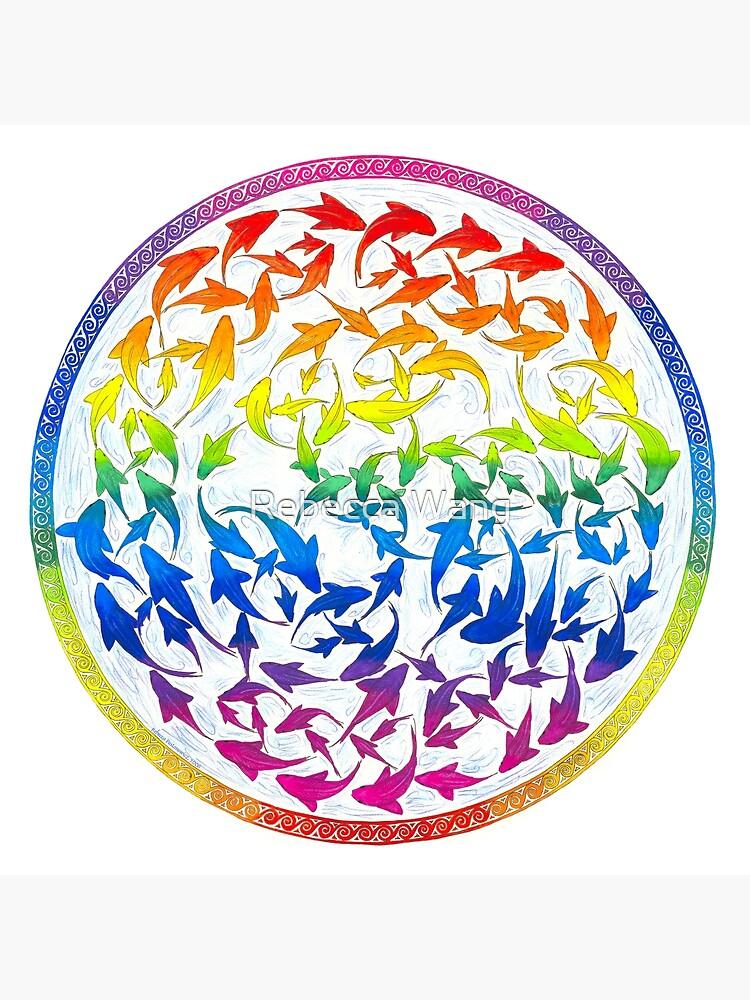 Harmony Rainbow Fish Psychedelic Mandala by lioncrusher