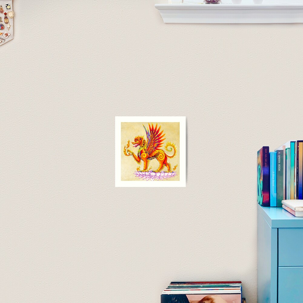 Singha - Mythical Balinese Winged Lion Thai Temple Guardian Art Print