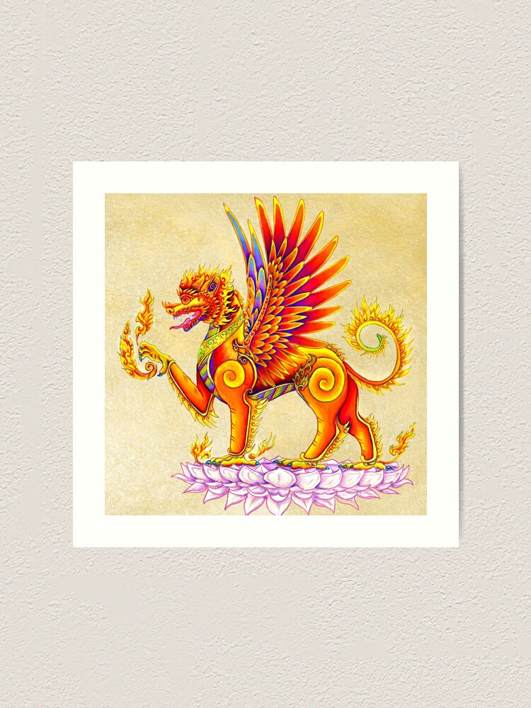 Alternate view of Singha - Mythical Balinese Winged Lion Thai Temple Guardian Art Print