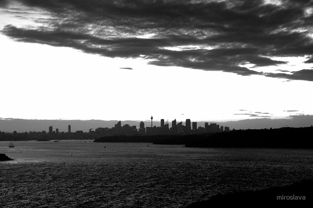 north head manly - black and white sunset by miroslava