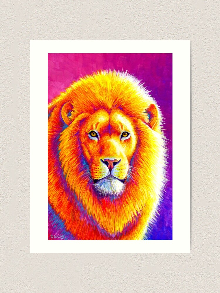 Alternate view of Sunset on the Savanna - Colorful African Lion Art Print