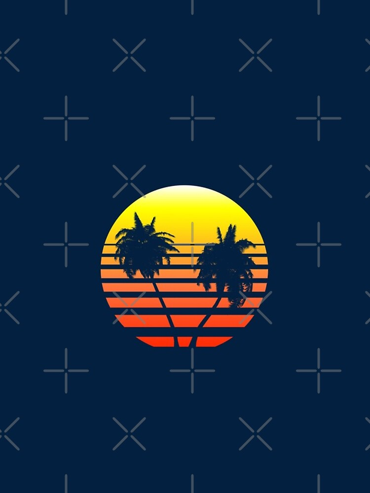 Synthwave Sunset (with palm trees) by GaiaDC