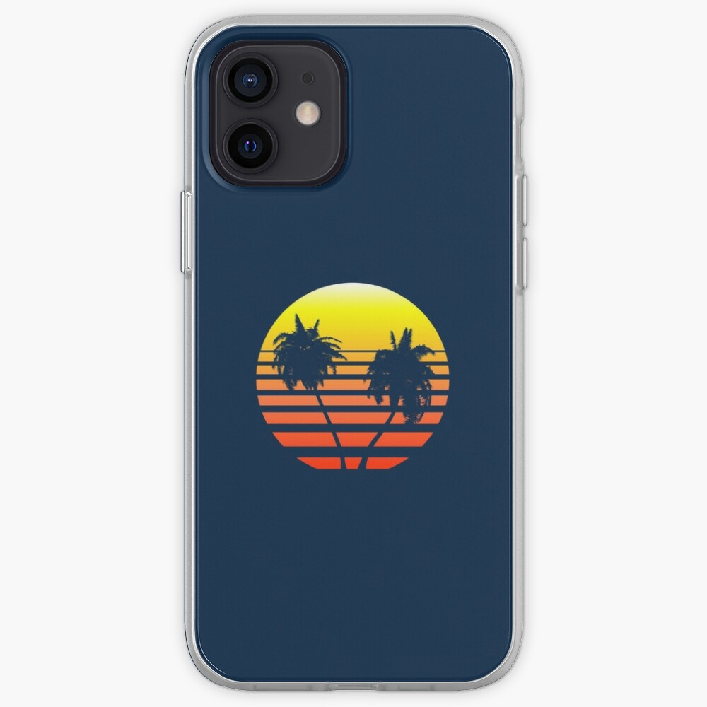 Synthwave Sunset (with palm trees) iPhone Case