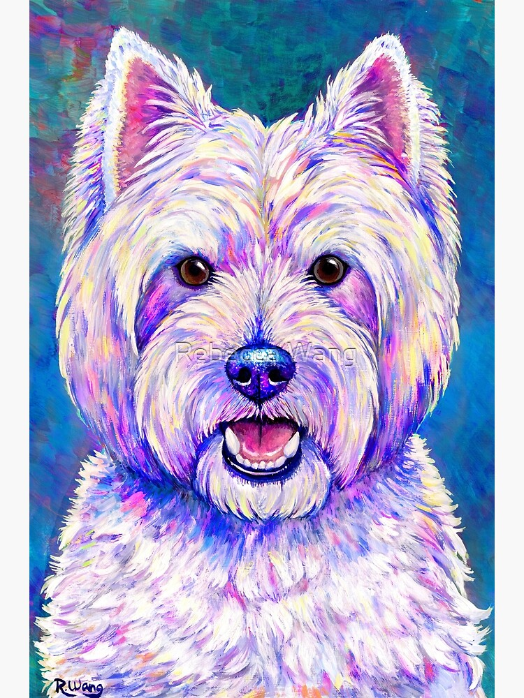 Happiness - Colorful West Highland White Terrier Dog by lioncrusher