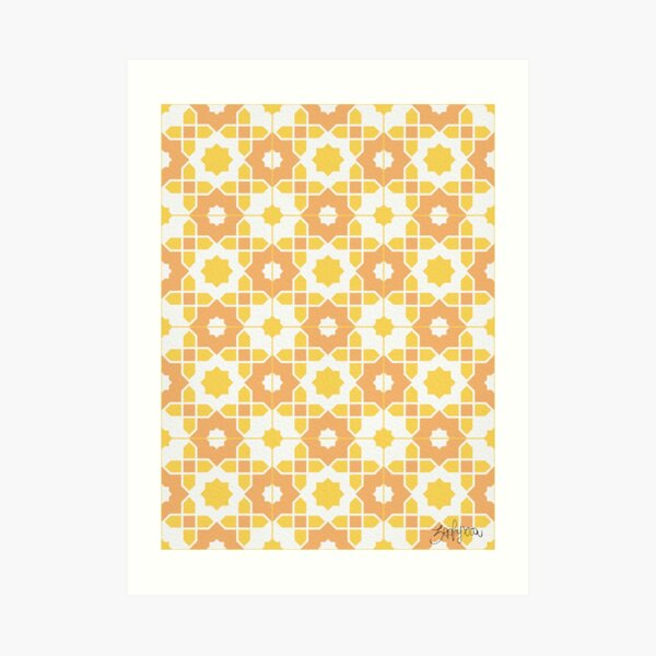 Portuguese Azulejos - Yellow Palette Art Print