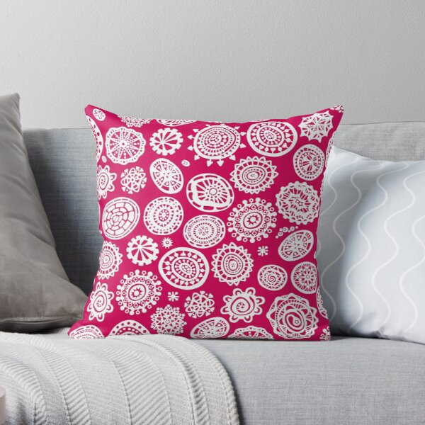 Fancy Dot Extravaganza White and Cherry Red Throw Pillow
