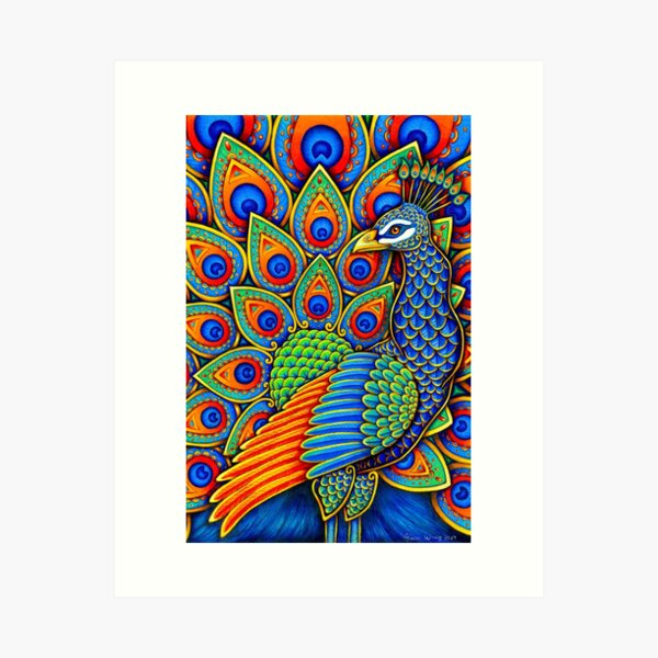 Colorful Paisley Peacock Rainbow Bird Art Print