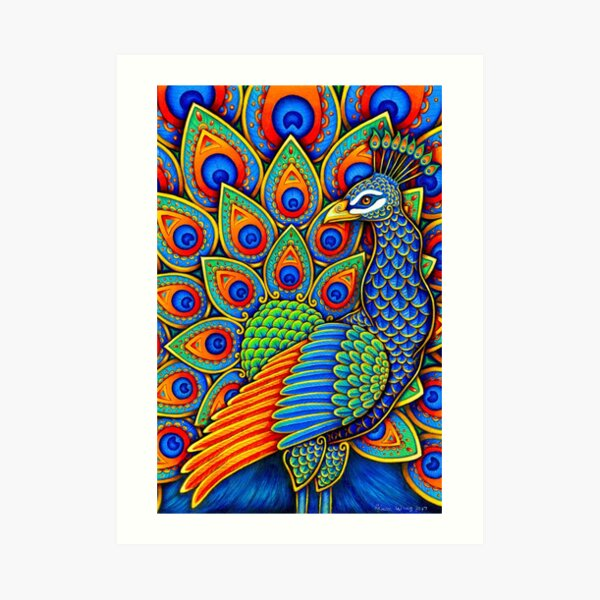 Colorful Paisley Peacock Rainbow Bird Art Print