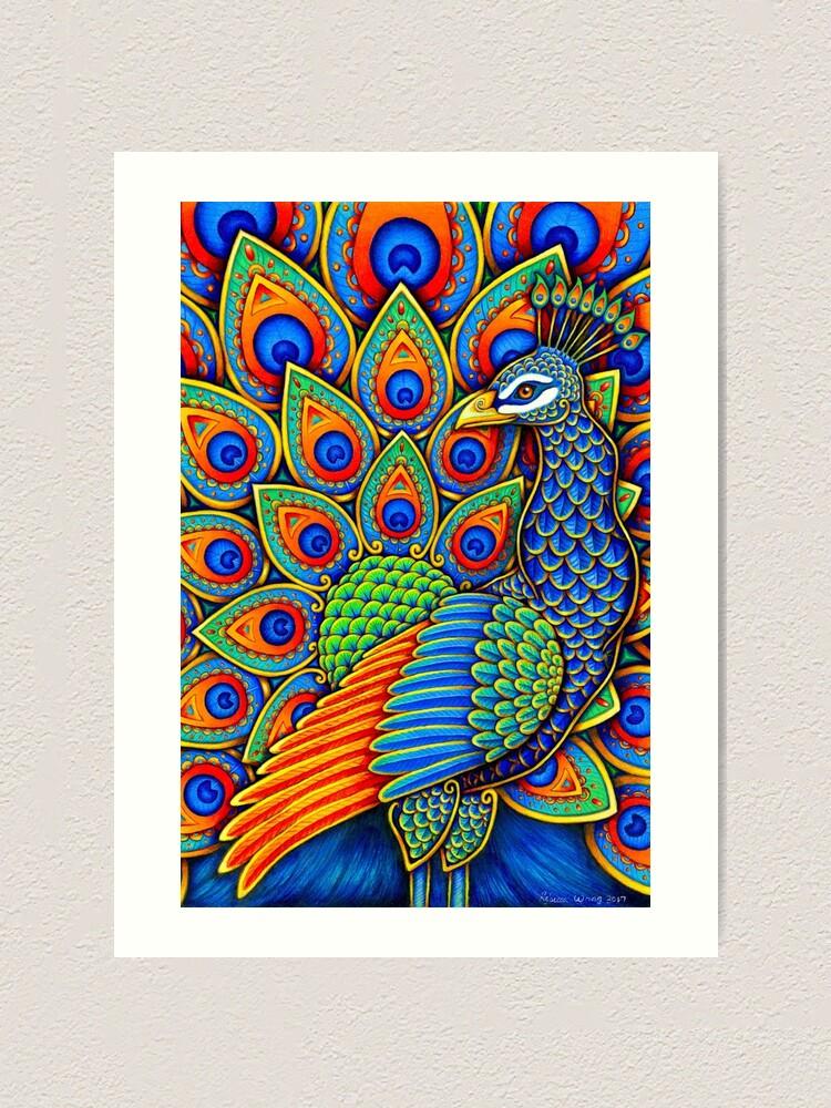 Alternate view of Colorful Paisley Peacock Rainbow Bird Art Print