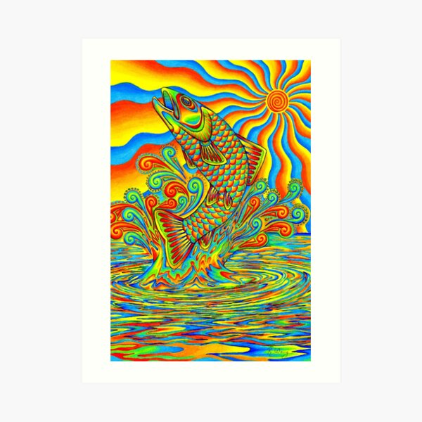 Psychedelic Rainbow Trout Fish Art Print