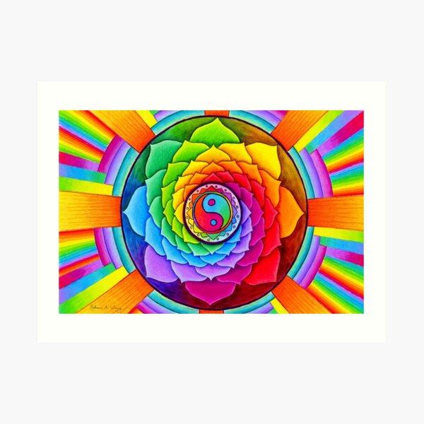 para sanar el corazón y rejuvenecer el alma. Un colorido yin yang en colores cálidos y fríos está en el centro de este mandala psicodélico. Pétalos de loto en un arcoiris de colores Lámina artística