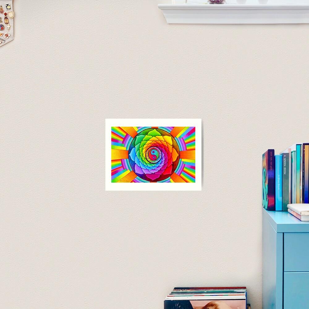 Healing Lotus Rainbow Yin Yang Psychedelic Mandala Art Print