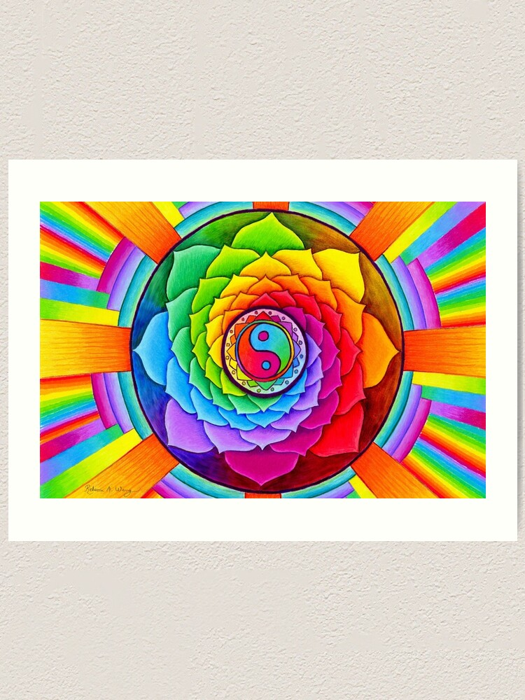 Alternate view of Healing Lotus Rainbow Yin Yang Psychedelic Mandala Art Print
