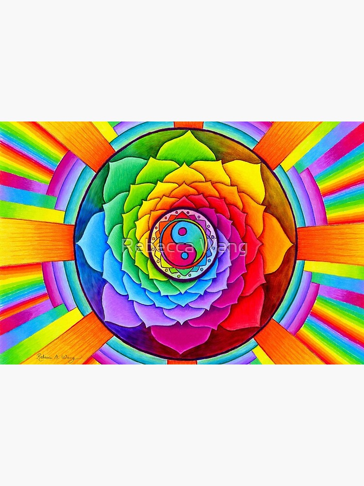 Healing Lotus Rainbow Yin Yang Psychedelic Mandala by lioncrusher
