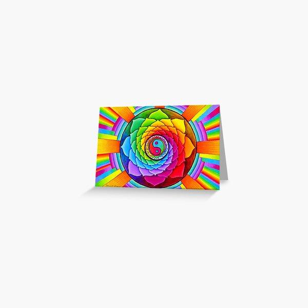 Healing Lotus Rainbow Yin Yang Psychedelic Mandala Greeting Card