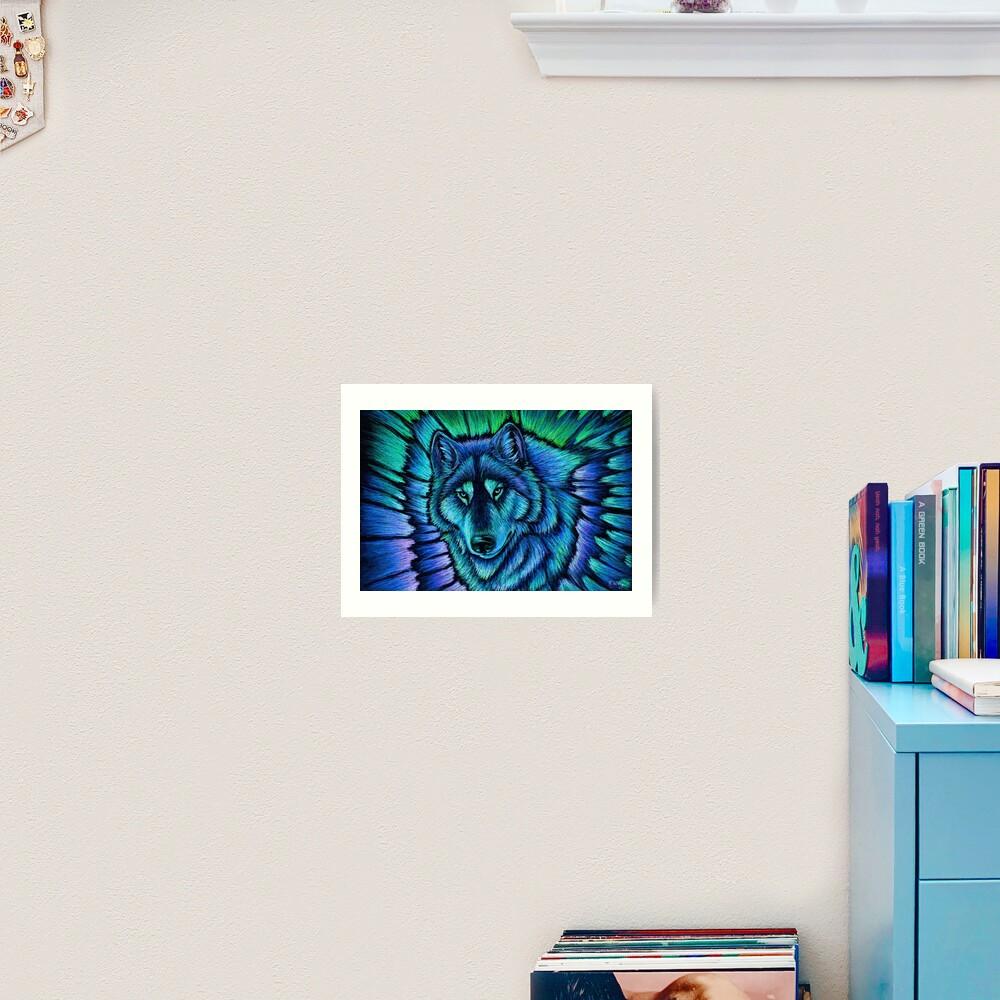 Blue Fantasy Wolf Aurora Glowing Spirit Art Print