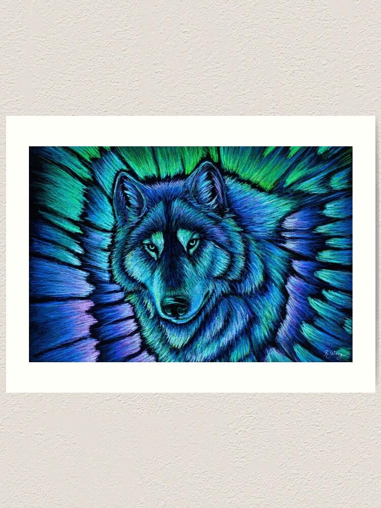 Alternate view of Blue Fantasy Wolf Aurora Glowing Spirit Art Print