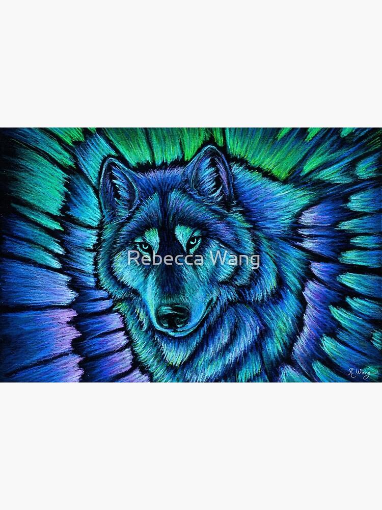 Blue Fantasy Wolf Aurora Glowing Spirit by lioncrusher