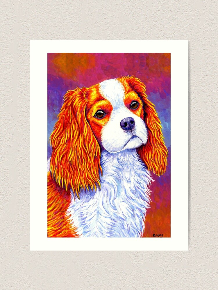 Alternate view of Autumn Delight - Colorful Cavalier King Charles Spaniel Dog Art Print