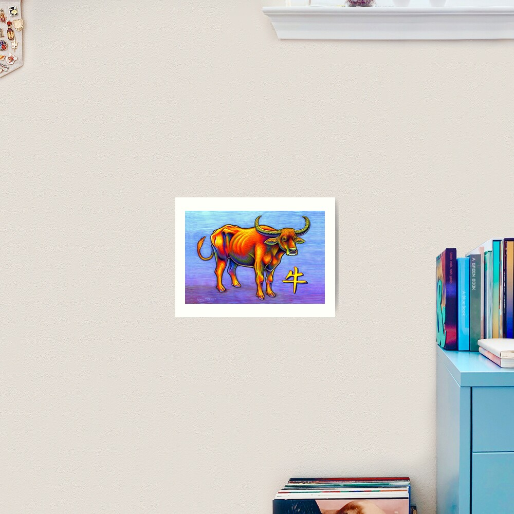 Colorful Chinese Zodiac Animals Year of the Ox Art Print