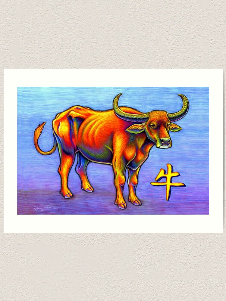 Alternate view of Colorful Chinese Zodiac Animals Year of the Ox Art Print