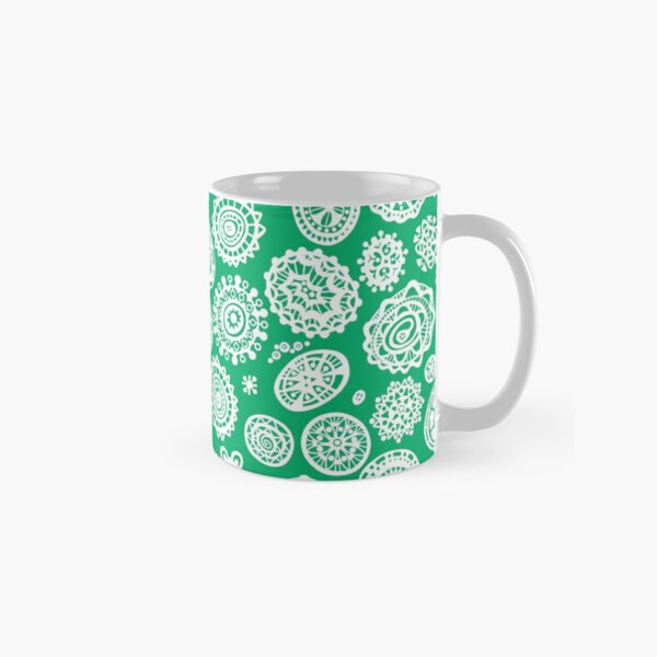 Fancy Dot Extravaganza White and Grassy Green Classic Mug