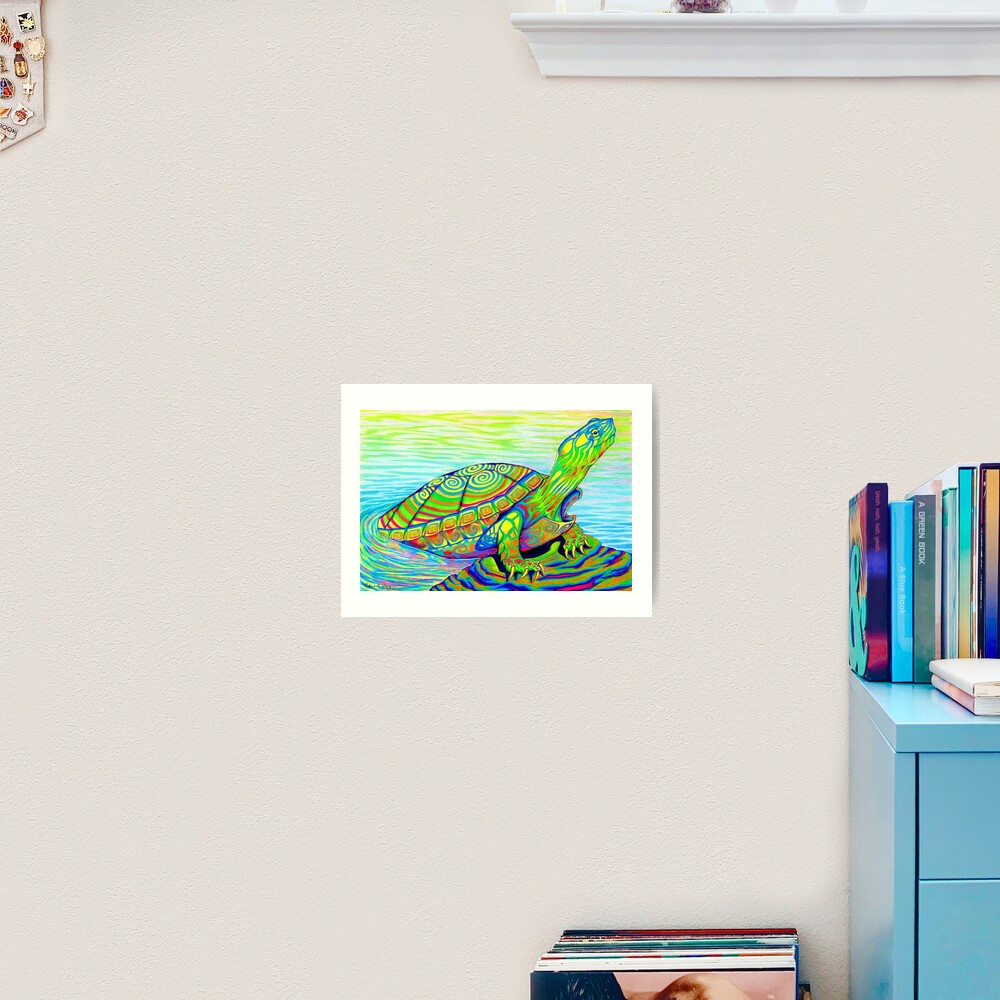 Psychedelic Rainbow Colorful Neon Painted Water Turtle Art Print