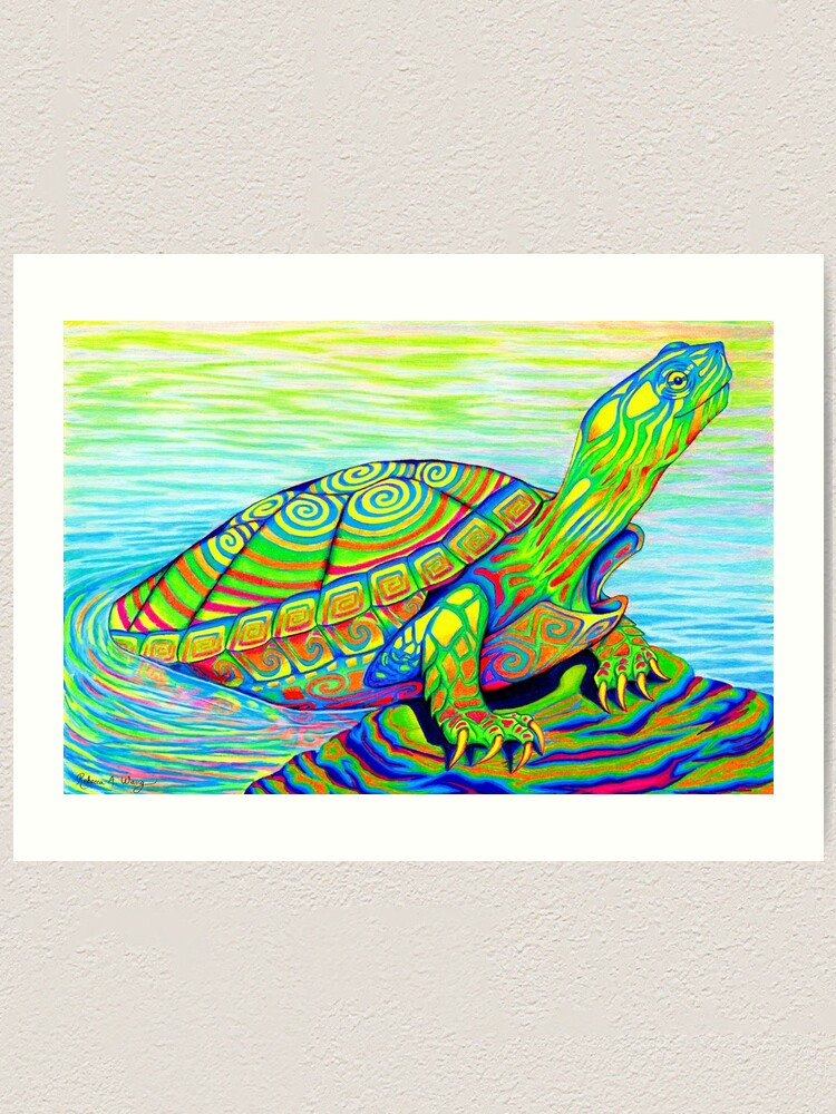 Alternate view of Psychedelic Rainbow Colorful Neon Painted Water Turtle Art Print