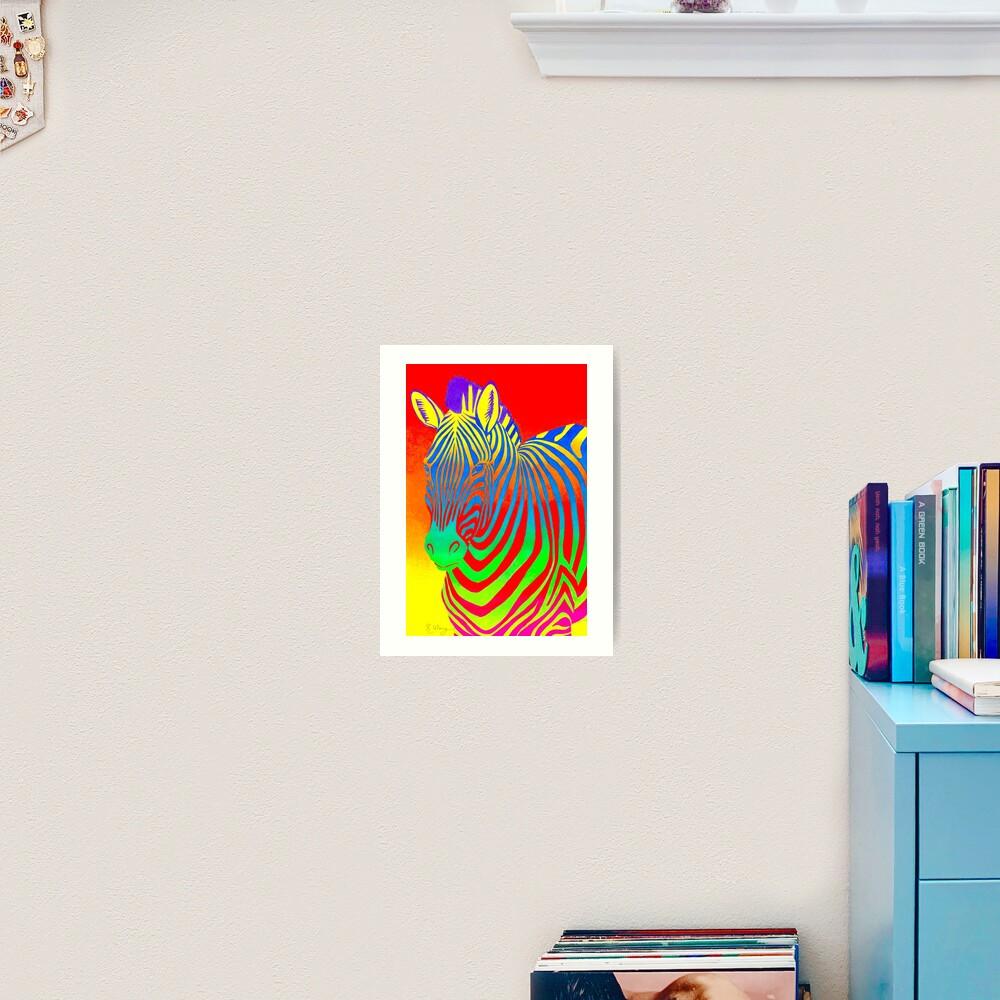 Psychedelic Colorful Rainbow Zebra Art Print