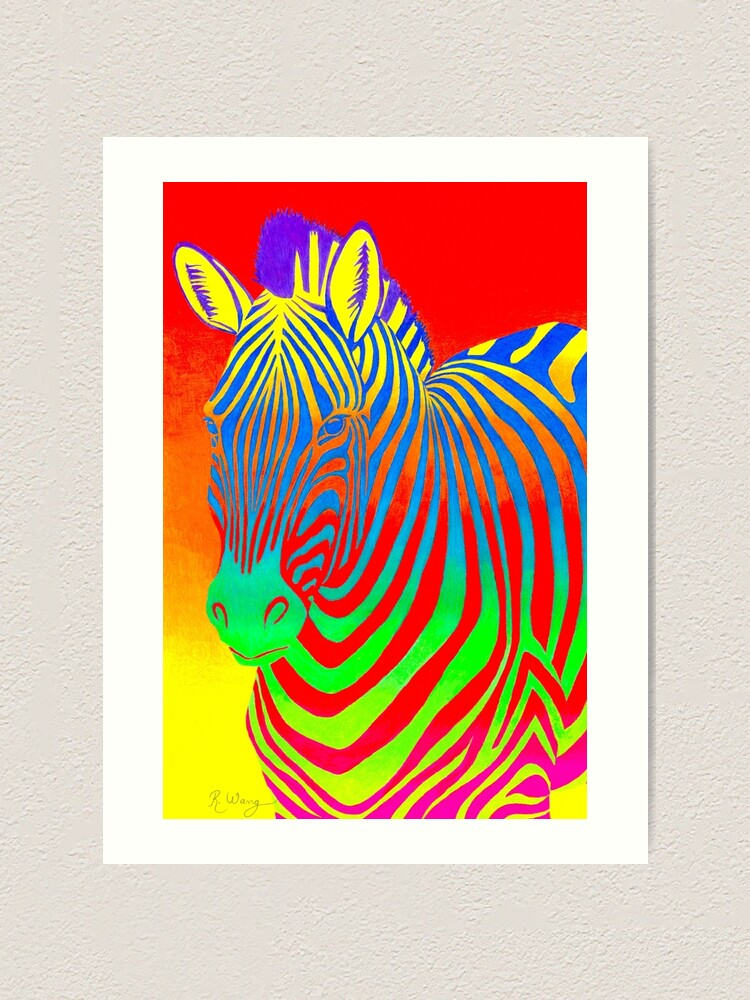 Alternate view of Psychedelic Colorful Rainbow Zebra Art Print